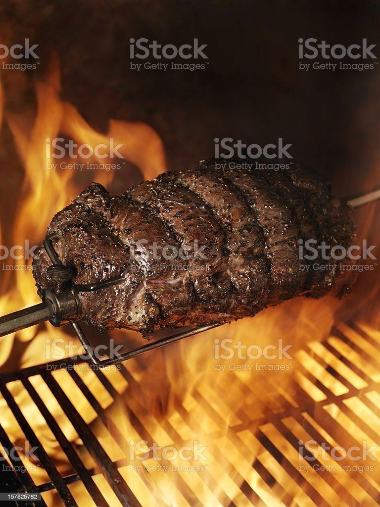 Top Sirloin Beef Roast on the BBQ stock photo