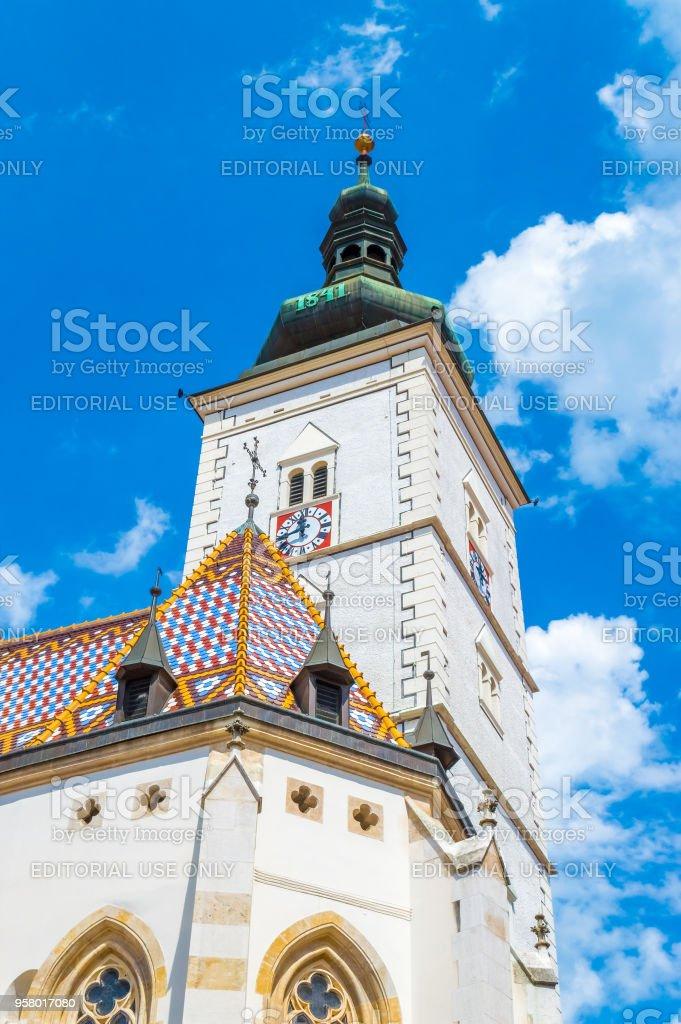 Top St. Mark's Church in Zagreb stock photo