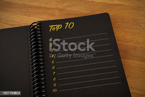 Top 10, list, note pad, black, background
