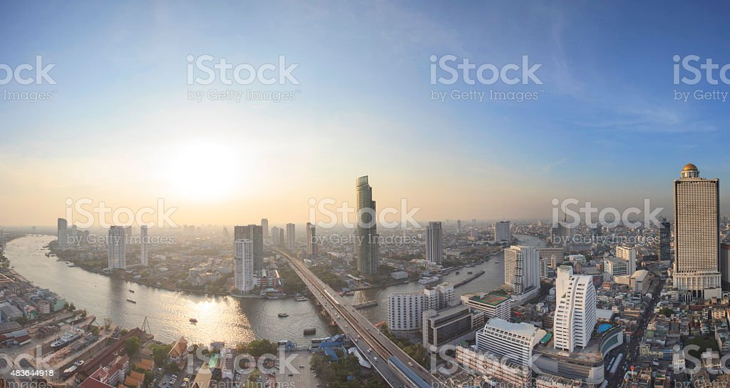 top veiw of chaopraya river and bangkok landmark stock photo