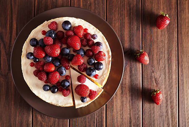 Top viev. Delicious Homemade creamy mascarpone New York Cheesecake with stock photo
