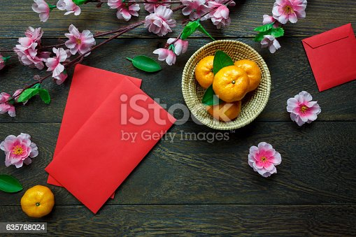 istock Top view accessories Chinese new year festival decorations. 635768024