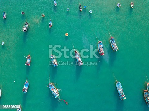 istock Top view, aerial view fishing harbour from drone 966396066