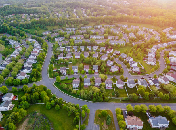 Top view aerial with from flying drone over residential district development buildings transportation Aerial top view with from flying drone over residential district development buildings transportation residential district stock pictures, royalty-free photos & images
