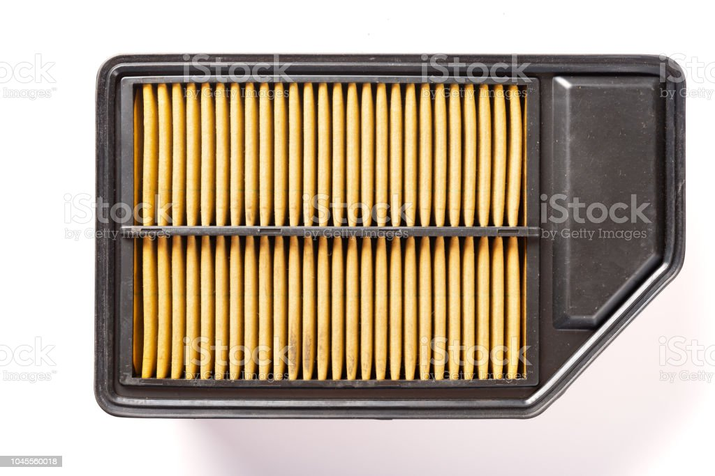 top view air filter for a car on white stock photo