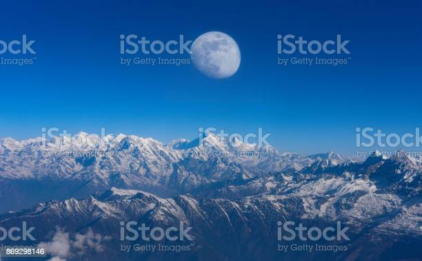 Top view Altitude Mountain Range View with Sunrise between Rocks and young Moon risin