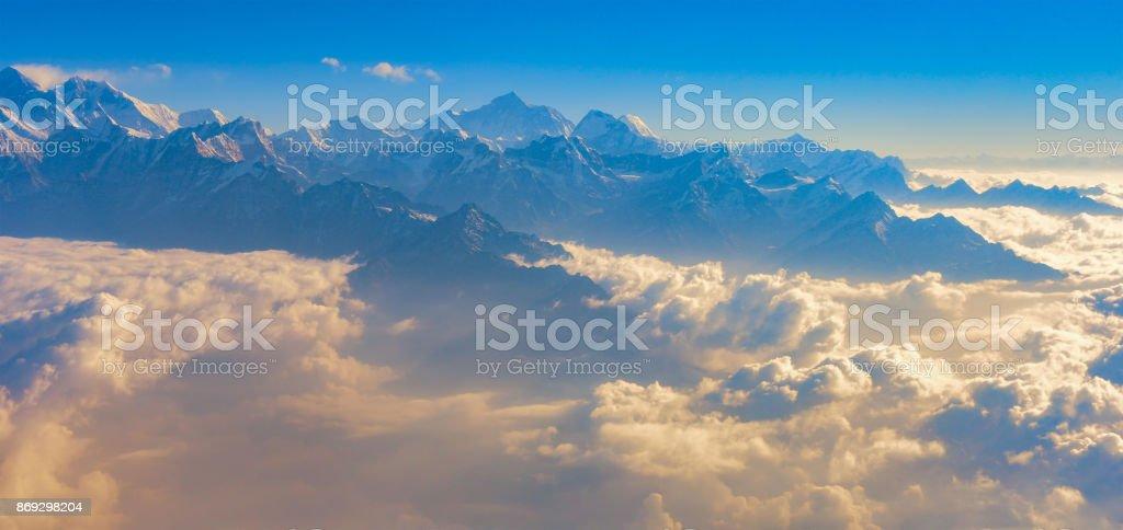 Top view Altitude Mountain Range View with Sunrise. stock photo