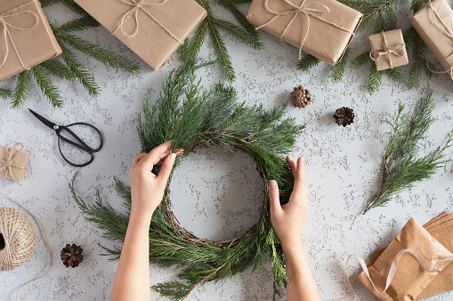 Top view and flat lay of Christmas wreath decoration with hand made DIY, doing yourself.