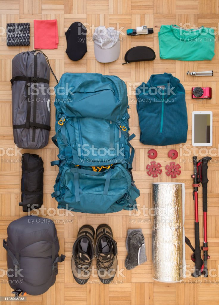 Top View And Flat Lay Of Mens Camping Gear And Equipment Stock Photo Download Image Now Istock