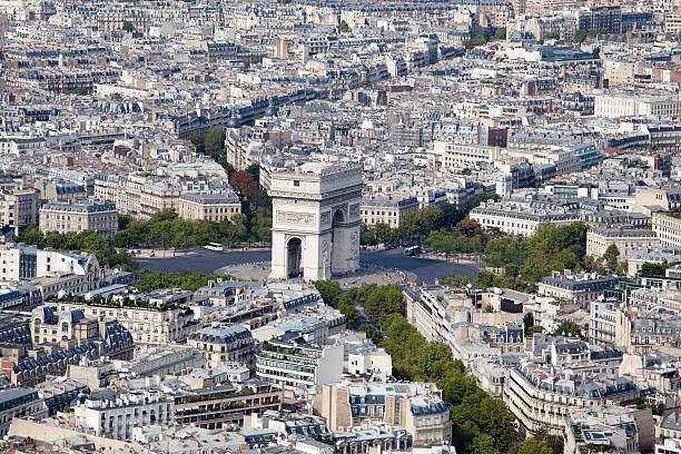 Top view Arch of Triumph and Etoile square Paris France stock photo
