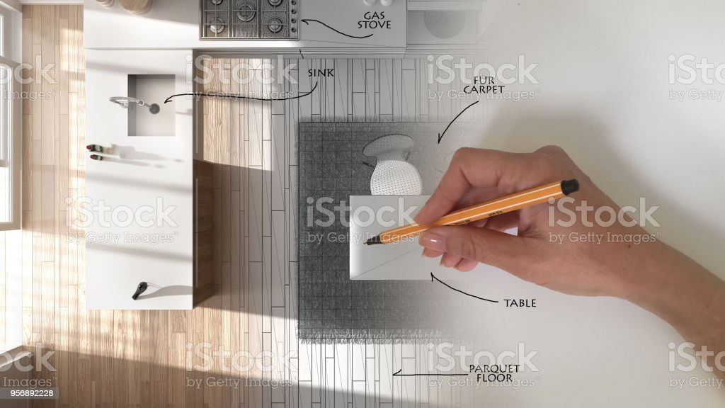 Foto De Vista Superior Arquiteto Interior Design Conceito Mao Desenhando Um Projeto De Design De Interiores E Escrever Notas Enquanto O Espaco Se Torna Real Branca E Madeira Cozinha Moderna E Mais
