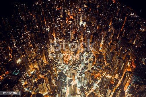 Top view at central district in Hong Kong at night
