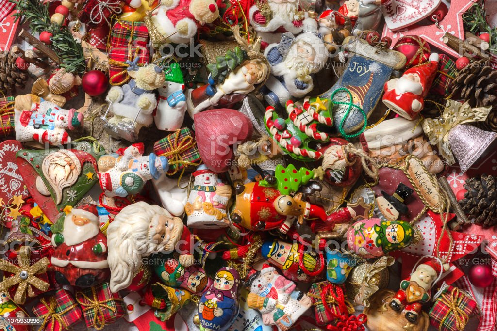 Top view - Background of some Christmas decorations. - foto stock