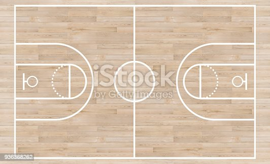 istock Top view, Basketball court and layout line on wooden texture background 936368262