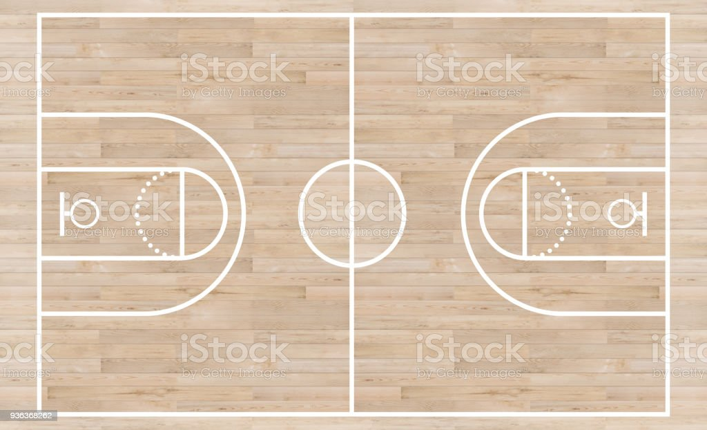 Top view, Basketball court and layout line on wooden texture background stock photo