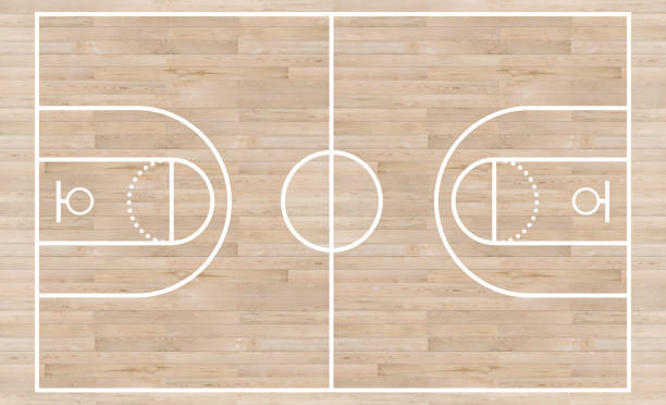 top view, basketball court and layout line on wooden texture background - basket foto e immagini stock