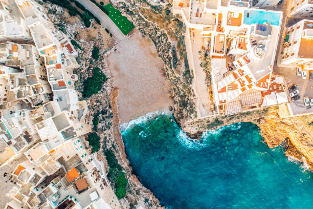 Top view beach of Polignano a Mare on summer day without people stock photo