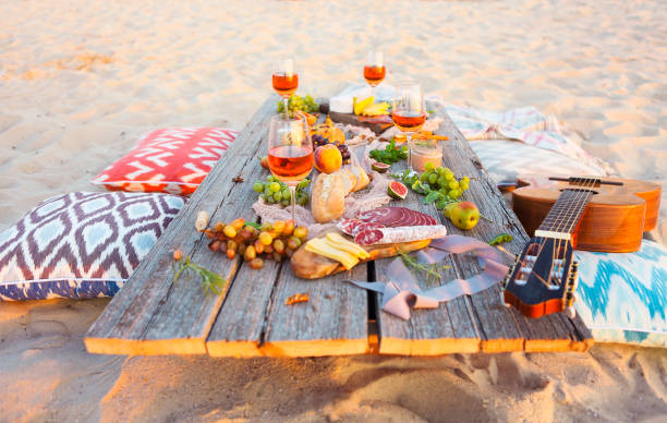Top view beach picnic table stock photo