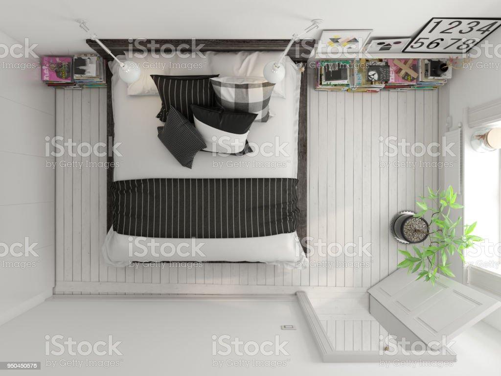 Top View Bedroom Interior Design 3D Rendering Royalty Free Stock Photo
