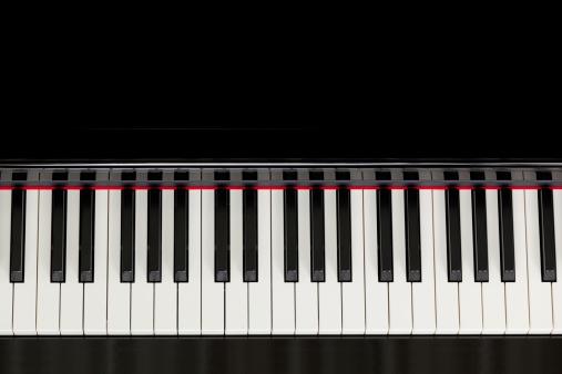 top view black piano keyboard