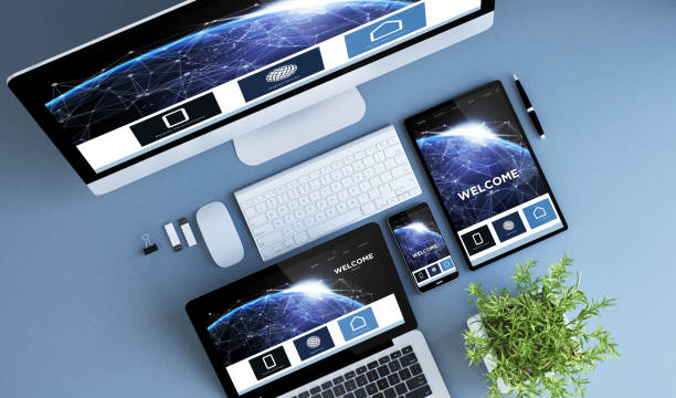 top view blue devices home design communications website stock photo