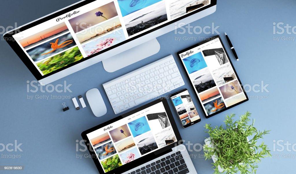 Ansicht von oben blaue Geräte-Foto-portfolio – Foto