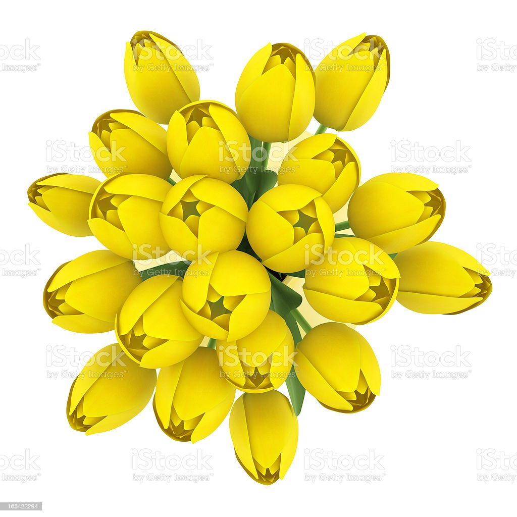 top view bouquet of yellow tulips in vase isolated royalty-free stock photo