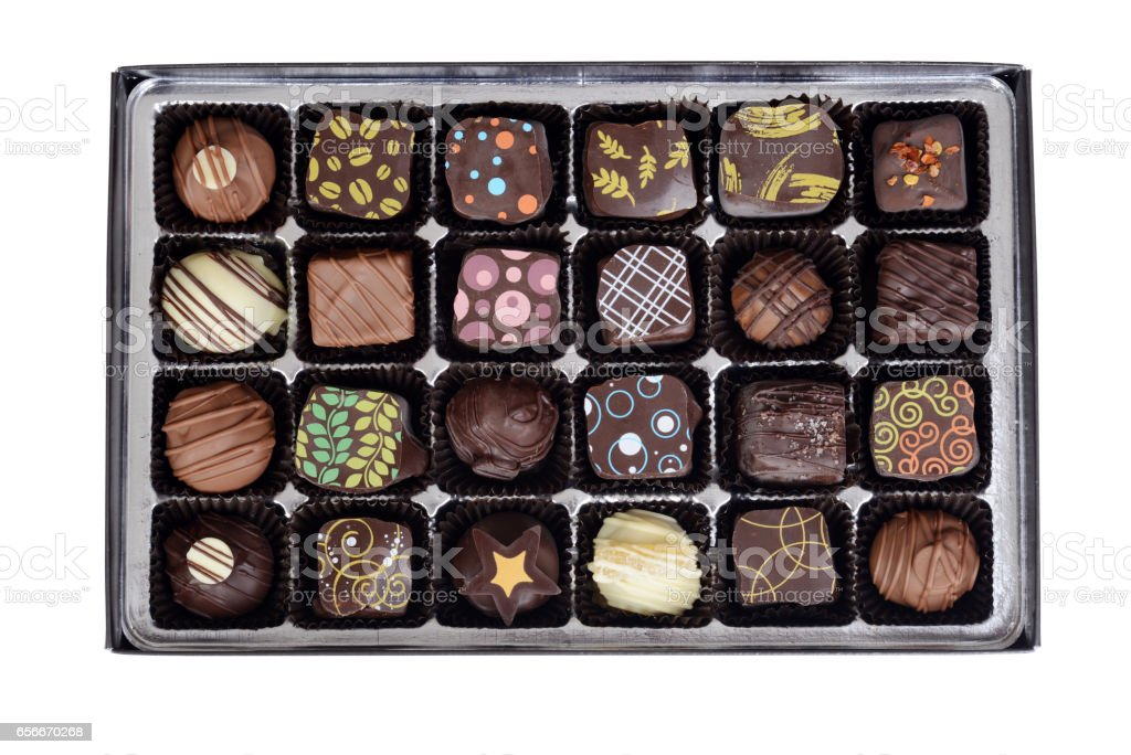 top view box of fancy chocolates candy - foto de stock