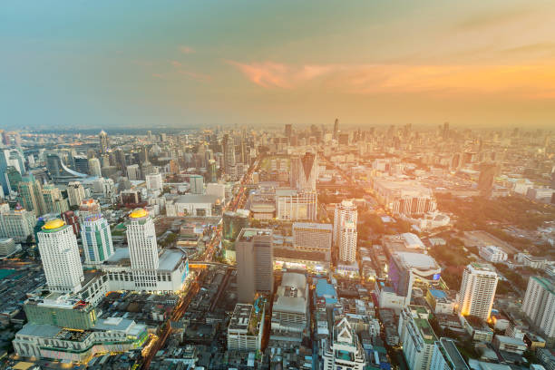 頂級景觀, 商業區城市曼谷市中心圖像檔