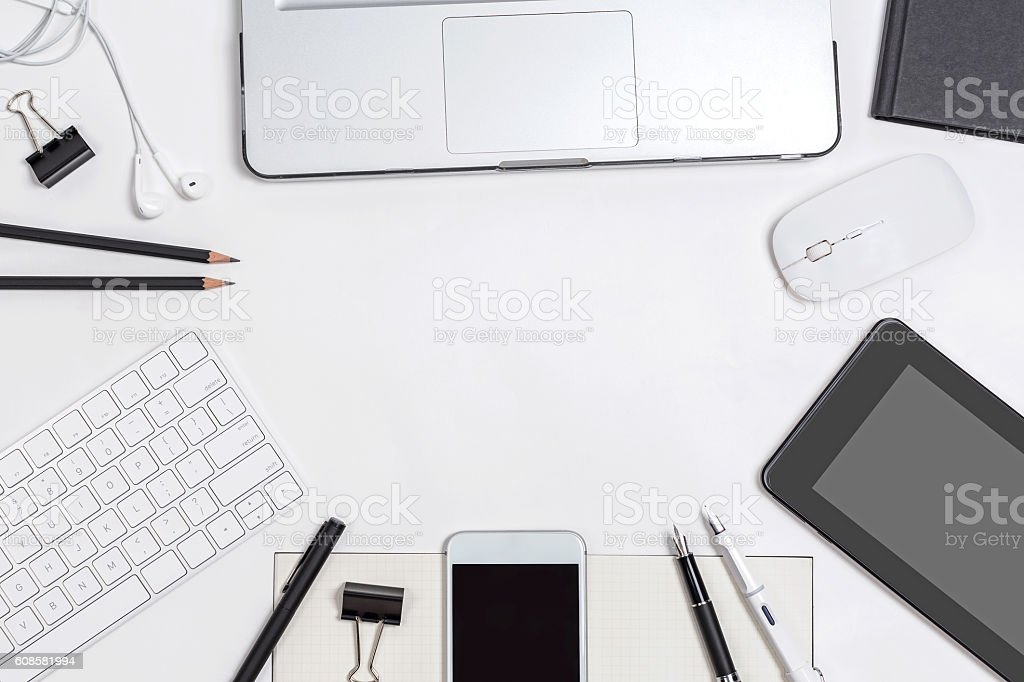Top View Business Desk With Office Object Flat Layout Display Stock Photo - Download Image Now ...