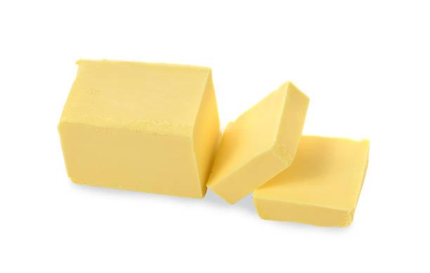 top view boter op witte achtergrond - boter stockfoto's en -beelden