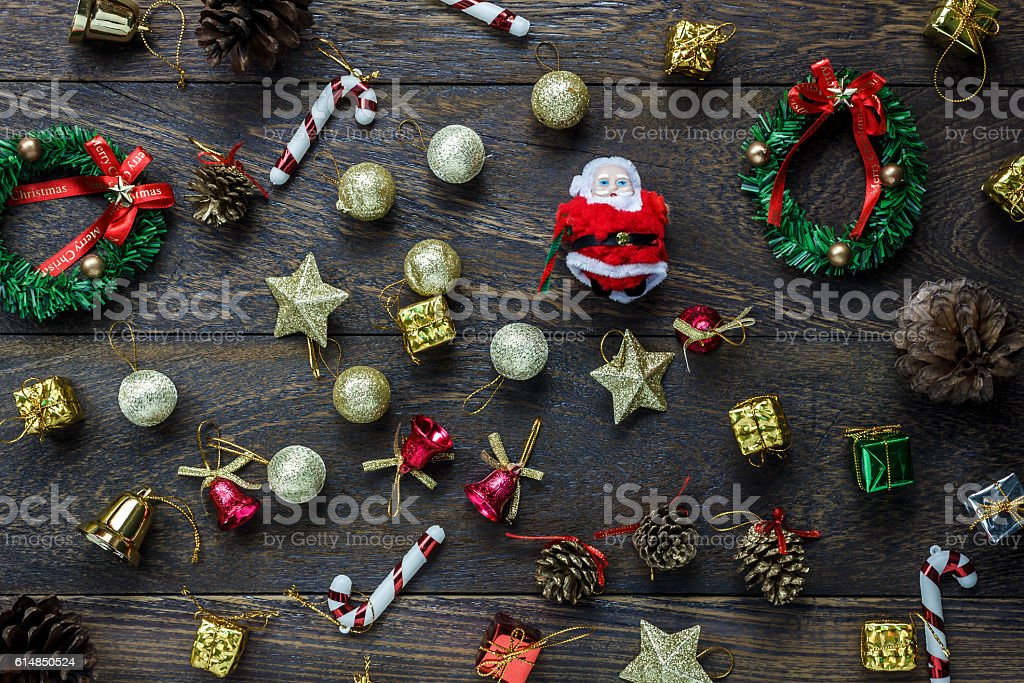 Top view Christmas decoration and Santa Claus doll. stock photo