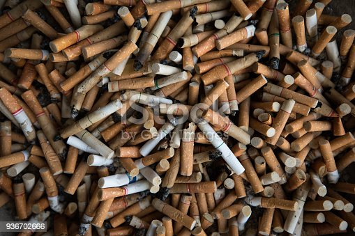 istock Top view Close up of Tobacco Cigarettes Background or texture Cigarette butts and Smoking is bad for your health concept 936702666