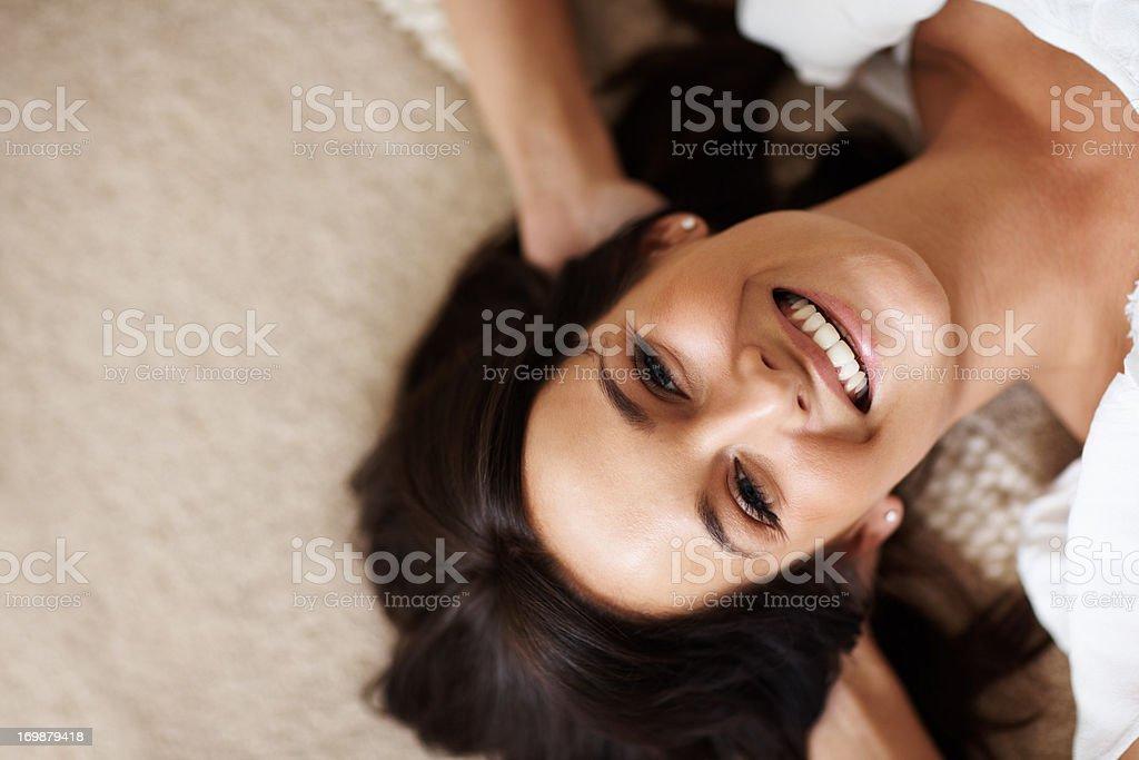 Ansicht von oben, Nahaufnahme von einem glücklich weibliche entspannend auf der Lizenzfreies stock-foto