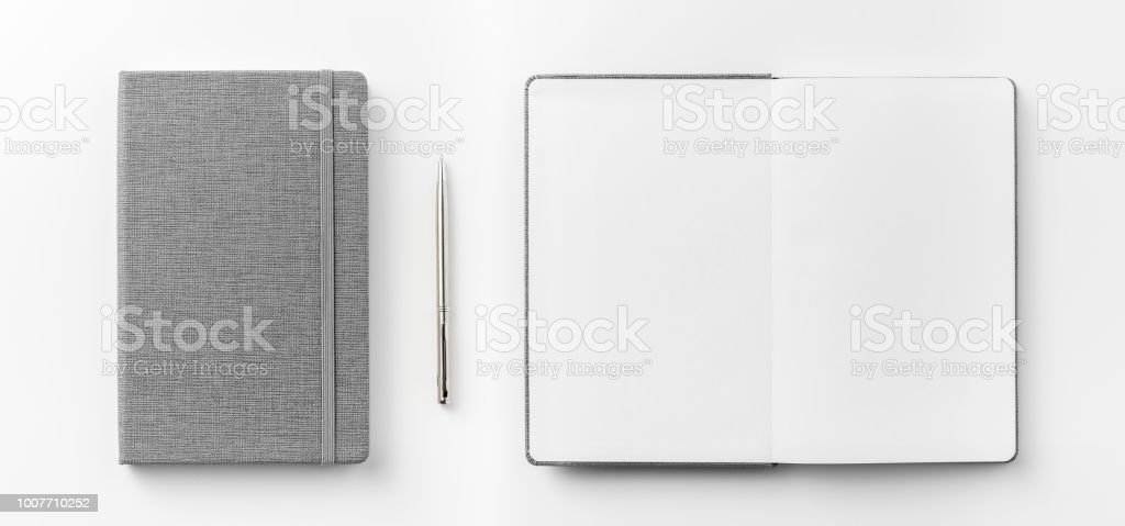 Business concept - Top view collection of grey notebook front, back...