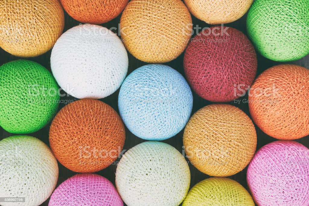 Top view Colorful Thread Balls background stock photo