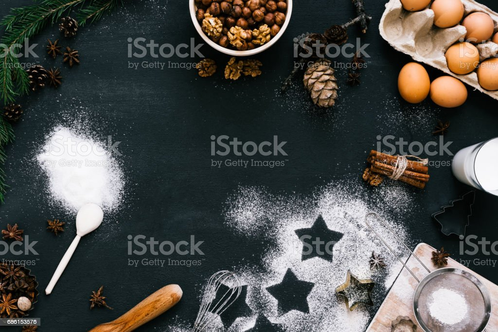 Top view composition of baking ingredients for Christmas cookies stock photo
