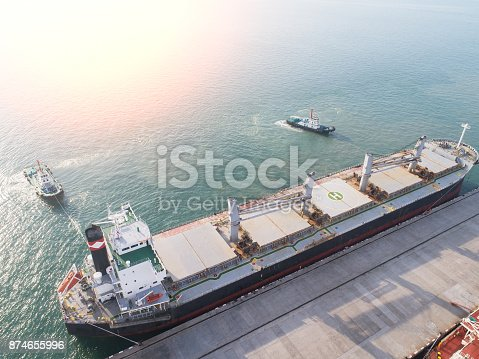 top view container ship commercial vessel alongside in port for loading and discharging containers services in maritime transports in World wide logistics