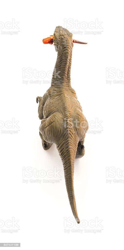 top view deinonychus biting a smaller dinosaur on white background