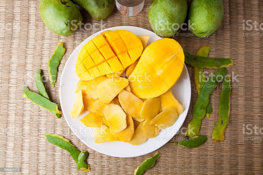 Top view Delicious Yellow Manggo Fruit sliced on white plate stock photo