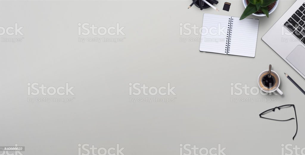 Top view desk stock photo