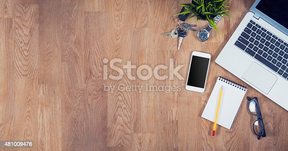 istock Top view desk with copy space 481009476
