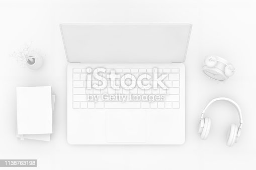 3D Rendering Technology Concept with Laptop. Top view, white background. Office desktop, Workplace, Home Office.