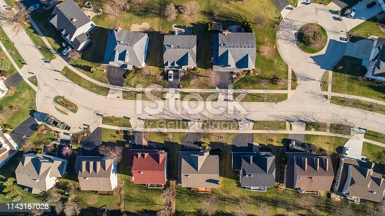 The residential neighborhood in Chicago, Illinois, USA, at the spring early morning