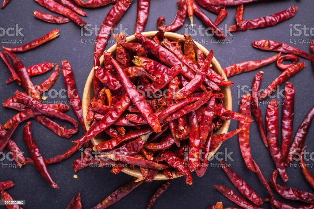 Vista superior seco vermelho malagueta - Foto de stock de Alimentação Saudável royalty-free