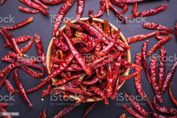 Foto de Vista Superior Seco Vermelho Malagueta e mais fotos de stock de Alimentação Saudável