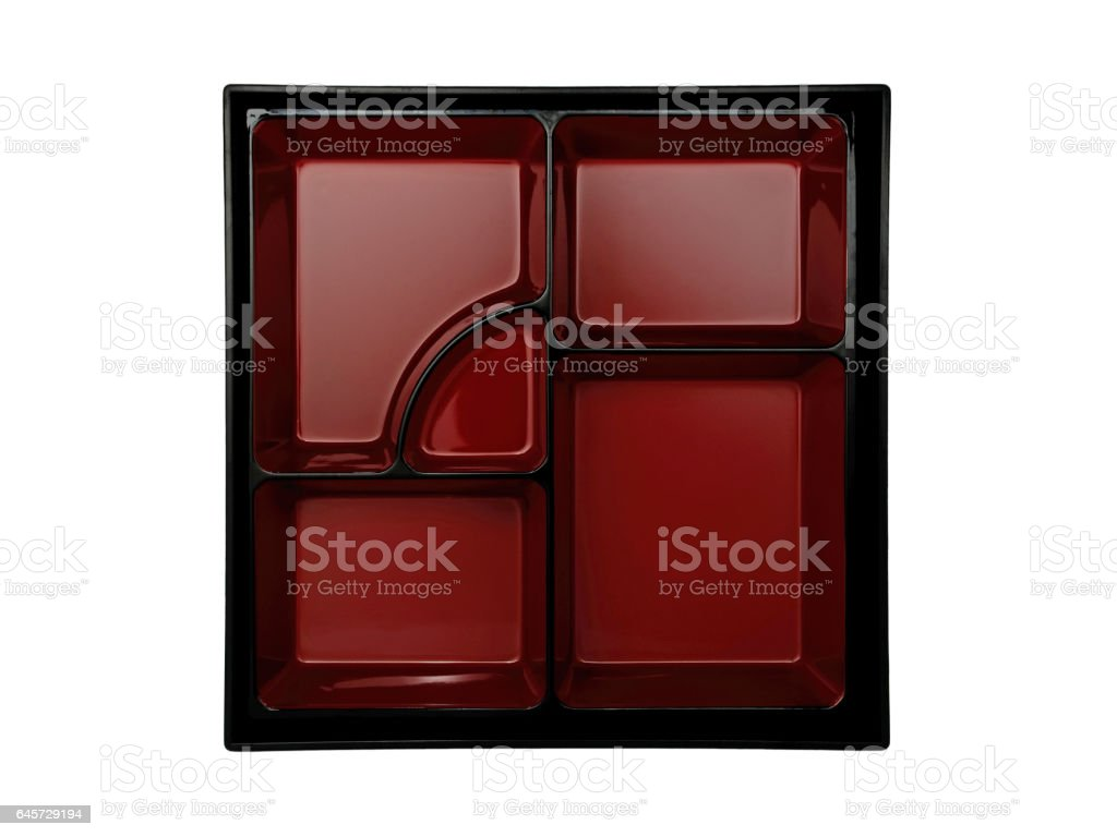 top view empty japanese bento box on white background stock photo