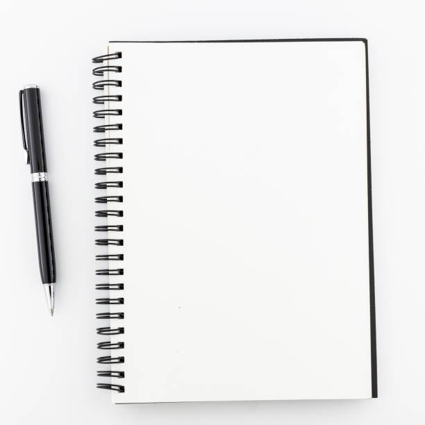top view, empty notebook on a white background. - diario foto e immagini stock