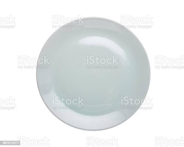 Foto de Vista Superior Vazia Branca Nova Cozinha Cerâmica Prato Isolado No Branco Salvouse Com O Traçado De Recorte e mais fotos de stock de Acima