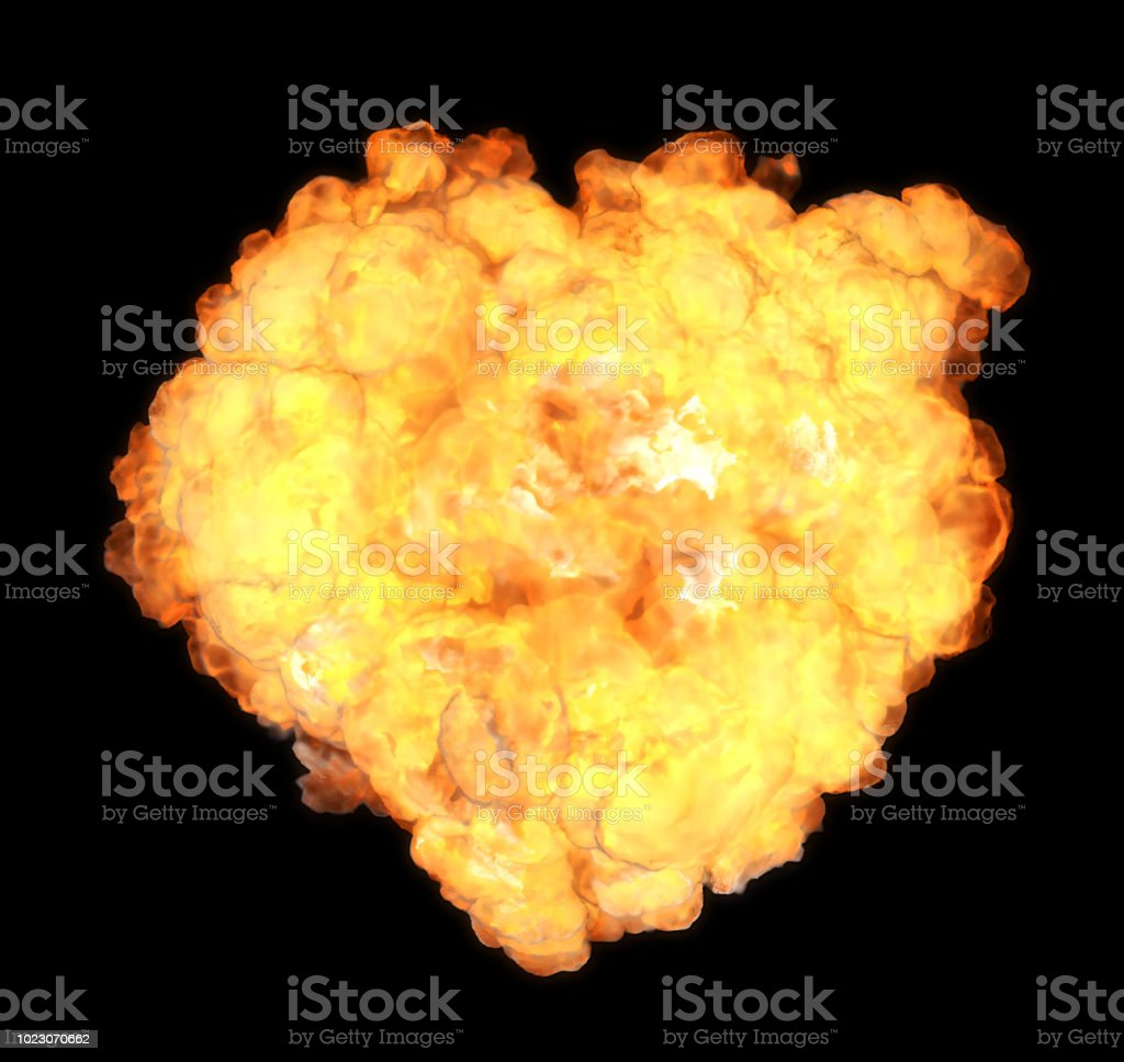 Top view explosion with smoke coming at cam (clipping path included, so you can put your own background) stock photo